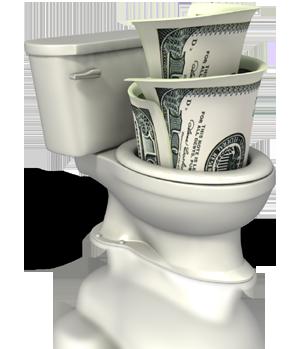 money toilet